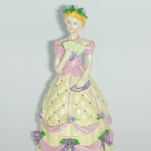 Trinket Box Victorian Lady Yellow and Pink